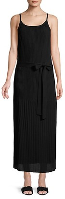 Theory Pleated Cotton Midi Dress