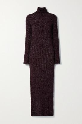 Helmut Lang Open-back Metallic Ribbed Cotton-blend Turtleneck Maxi Dress - Grape