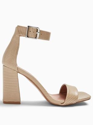 Topshop Wide Fit Suki Block Heel Sandals - Mink