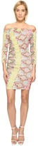 Just Cavalli Iridescent Python Print Off the Shoulder Dress Women's Dress