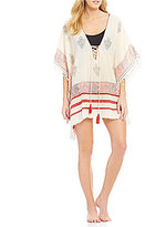 Gianni Bini Paisley Lace-Up Tunic Cover Up