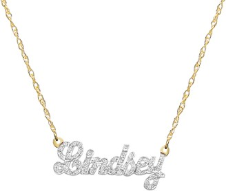 Jane Basch Designs Jane Basch Personalized Nameplate Diamond Pendant Necklace