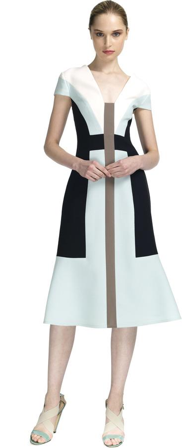 Carolina Herrera Graphic Design Wool Crepe V-neck Dress