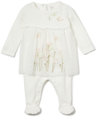 Baby Starters Girls' Footies Ivory - Ivory & Orange Vine Floral Footie - Newborn & Infant
