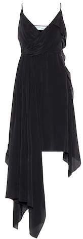 Off-White Asymmetric silk-blend dress