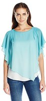 NY Collection Women's Chiffon Poncho with Solid Tank Underlay