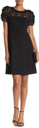 Flower Trim Lace Ponte Knit Fit & Flare Dress