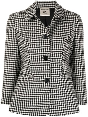 Semi-Couture Checked Single-Breasted Jacket