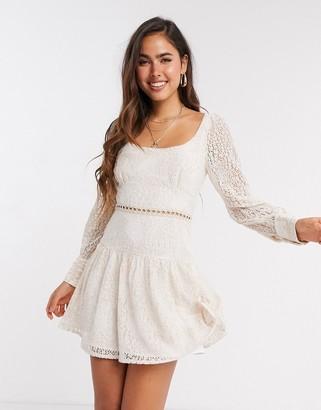 Fashion Union mini dress in blush lace