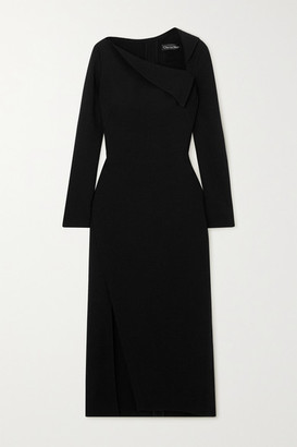 Oscar de la Renta Draped Stretch-wool Crepe Midi Dress - Black