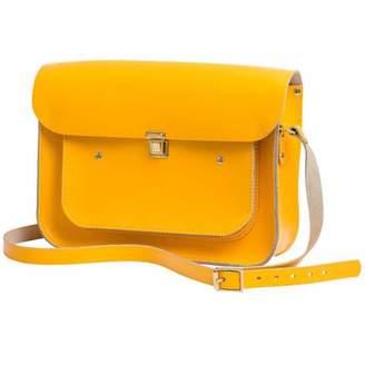 N'damus London Yellow Leather 13 inches Pocket Satchel