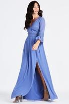 Little Mistress Tamsin Blue Plunge Midaxi Dress