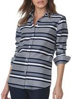Chaps Petite Non-Iron Striped Sateen Shirt