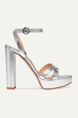 Gianvito Rossi Poppy 100 Metallic Leather Platform Sandals - Silver