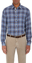 Luciano Barbera MEN'S PLAID LINEN SHIRT