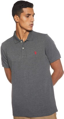 U.S. Polo Assn. Mens Classic Small Pony Solid Pique Polo Shirt - Dark Heahter Gray Small