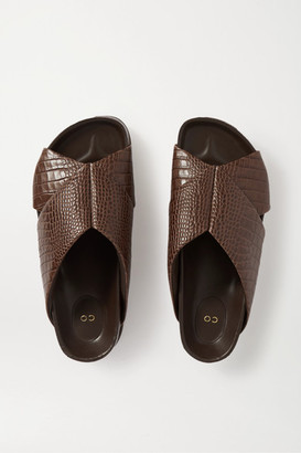 Co Croc-effect Leather Slides - Brown