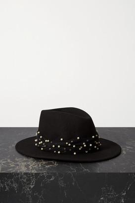 Eugenia Kim Blaine Faux Pearl-embellished Tulle-trimmed Wool-felt Fedora - Black