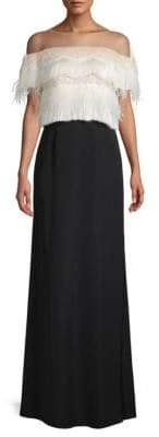 Tadashi Shoji Lace & Feather Illusion Off-The-Shoulder Gown