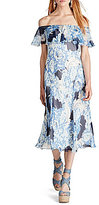 Polo Ralph Lauren Off-The-Shoulder Short Sleeve Printed Silk Dress