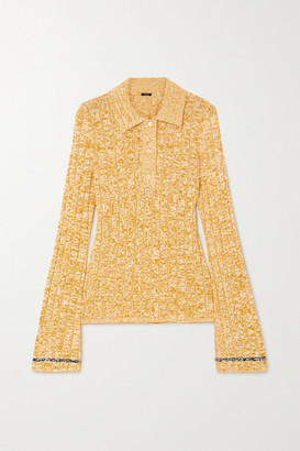 Joseph Melange Ribbed-knit Polo Shirt - Yellow