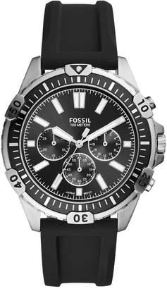 Fossil Men Chronograph Garrett Black Silicone Strap Watch 44mm