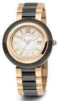 Alor Cavo 43mm Date Watch w/ Ceramic Bracelet Strap, Black/Rose