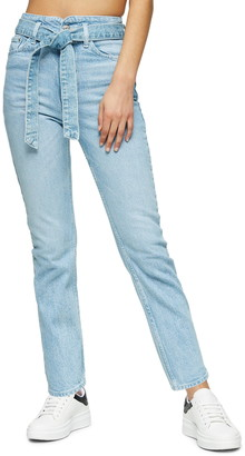 Topshop Belted Crop Straight Leg Jeans
