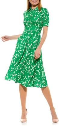 Alexia Admor Printed Spread Collar Midi Dress