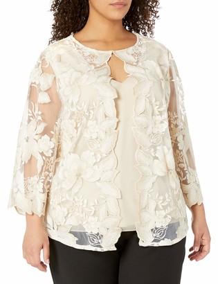 Alex Evenings Women's Plus Size Mock Two Piece Twinset Jacket Blouse
