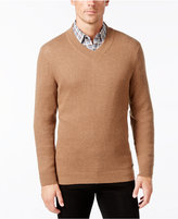 Tasso Elba Men's Cotton Cashmere Textured V-Neck Sweater, Only at Macy's