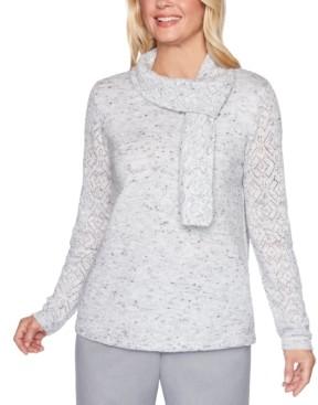 Alfred Dunner Lake Geneva Metallic Pointelle-Knit Scarf Sweater