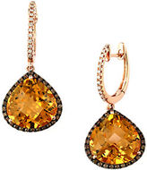 Effy Gemma, Citrine, Diamond and 14K Rose Gold Teardrop Earrings