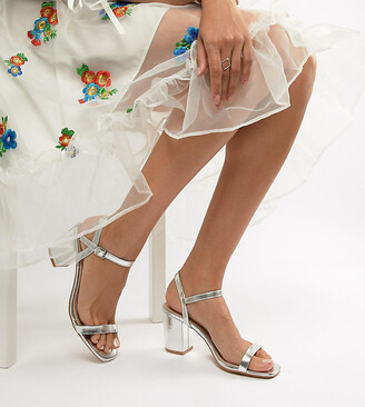 Glamorous Wide Fit Silver Block Heeled Sandals