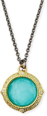 Armenta Old World Turquoise/Quartz Pendant Necklace w/ Diamonds & 18k Gold