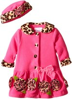 Bonnie Baby Baby-Girls Infant with Leopard Trim Fleece Coat and Hat Set
