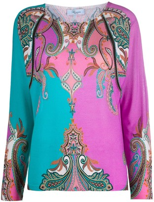 Blumarine Baroque Patterned Fine Knit Top