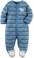 Carter's Striped Wolf Footed Terry Coverall, Baby Boys