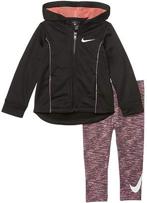 Nike Therma-FITtm Full Zip Hoodie and Dri-FITtm Leggings Two-Piece Set (Toddler) (Racer Pink) Girl's Active Sets