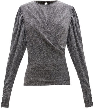 Isabel Marant Weylin Draped Lame Blouse - Black Silver