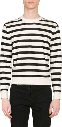 Saint Laurent Men's Striped Crewneck Pullover Sweatshirt