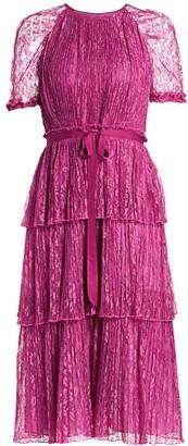 ML Monique Lhuillier Lace Tiered Midi Dress
