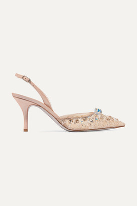 Rene Caovilla Veneziana Embellished Lace, Mesh And Leather Slingback Pumps - Neutral