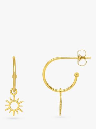 Estella Bartlett Sun Charm Hoop Earrings, Gold
