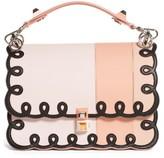 Fendi Kan I Scalloped Stripe Leather Shoulder Bag - Coral