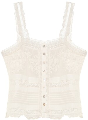 LoveShackFancy Sully cotton-lace top