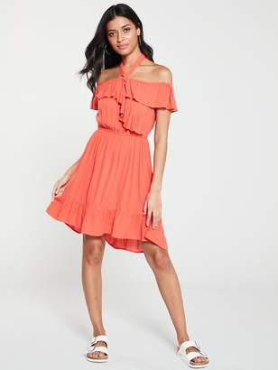 Very Bardot Halter Crinkle Rayon Summer Dress - Coral