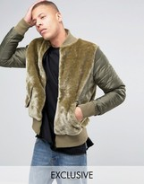 The New County Teddy Bomber Jacket With Nylon Rouched Sleeves