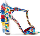 Dolce & Gabbana Bianca Raffia-trimmed Embellished Printed Patent-leather Sandals - IT38.5