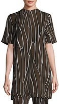 Marni Short-Sleeve Trellis-Print Tunic, Black/Brown